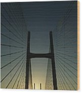 Crossing The Severn Bridge At Sunset - Cardiff - Wales Wood Print