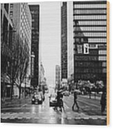 crosswalk at west georgia and hornby downtown in the rain Vancouver BC Canada Wood Print by Joe Fox