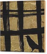 Crow And Golden Light Number 2 Wood Print by Carol Leigh