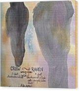 Crow And Raven Wood Print