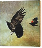 Crow And Red-winged Blackbird Wood Print