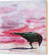 Crow At Dawn Wood Print