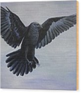 Crow Flight Wood Print