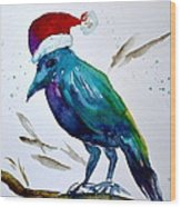 Crow Ho Ho Wood Print