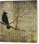Crow In Damask Wood Print