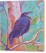 Crow In The Tree 3 Wood Print