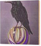 Crow On A Marble Edit 6 Wood Print