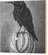 Crow On Marble Bw Wood Print