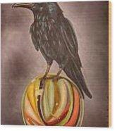 Crow On Marble Edit 3 Wood Print