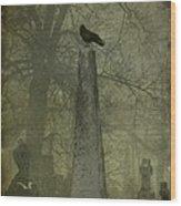 Crow On Spire Wood Print