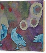 Crow Series 6 Wood Print by Helen Klebesadel