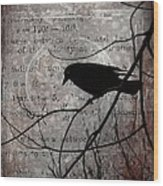 Crow Thoughts Collage Wood Print