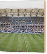 Crowd In A Stadium To Watch A Soccer Wood Print