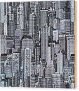 Crowded City Wood Print