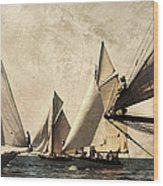 A Vintage Processed Image Of A Sail Race In Port Mahon Menorca - Crowded Sea Wood Print