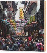 Crowds Throng Shanghai Chenghuang Miao Temple Over Lunar New Year China Wood Print