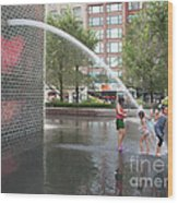 Crown Fountain Play Wood Print