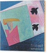 Crows And Geometric Figure Wood Print