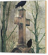 Urban Graveyard Crows Wood Print