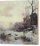 Crows In A Winter Landscape Wood Print by Karl Kustner
