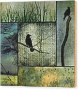 Crows In Nature Collage Wood Print