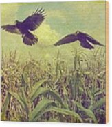Crows Of The Corn Wood Print