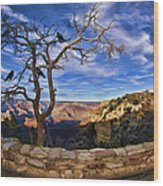 Crows Of The Grand Canyon Wood Print