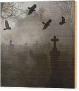Crows On A Eerie Night Wood Print