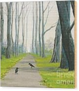 Crows On The Path Wood Print