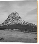 Crowsnest Mountain Black And White Wood Print