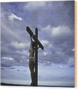 Crucifix In The Light Wood Print