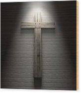 Crucifix On A Wall Under Spotlight Wood Print