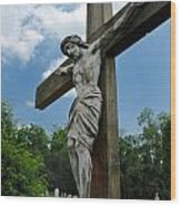 Crucifix Statue St James Cemetery Sewickley Heights Pennsylvania Wood Print