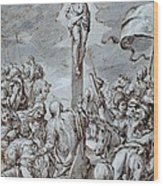 Crucifixion Wood Print by Johann or Hans von Aachen