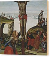 Crucifixion With Mary Magdalene Wood Print