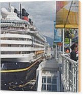 Cruise Dockside In Vancouver Wood Print