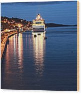 Cruise Liner At Cobh Harbour Wood Print by Maeve O Connell