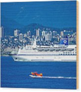 Cruise Ship And Seaplane In Vancouver Harbor Wood Print