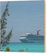 Cruise Ship At Half Moon Caye Wood Print