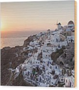 Cruise Ship At Sunset In The Mediterranean Sea Santorini Greece Wood Print