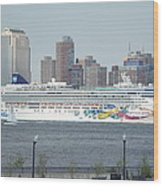 Cruise Ship On The Hudson Wood Print
