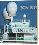 Cruise Ship Ventura's Radar Domes Wood Print by Terri Waters