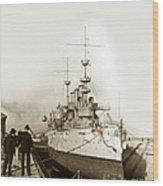 Cruiser Uss New York Going Into Dry Dock San Francisco Circa 1903 Wood Print