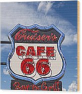Cruisers Cafe 66 Sign Wood Print