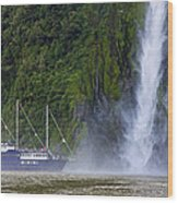 Cruising By A Waterfall Wood Print
