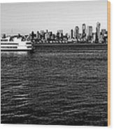 Cruising Elliott Bay Black And White Wood Print
