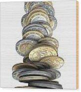 Crumbling Coins Wood Print by Allan Swart
