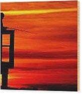 Crystal Beach Pier At Sunset IIi Wood Print