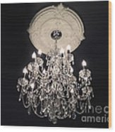 Crystal Chandelier - Paris Black And White Chandelier - Sparkling Elegant Chandelier Opulence Wood Print