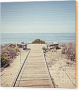 Crystal Cove Overlook Retro Picture Wood Print by Paul Velgos